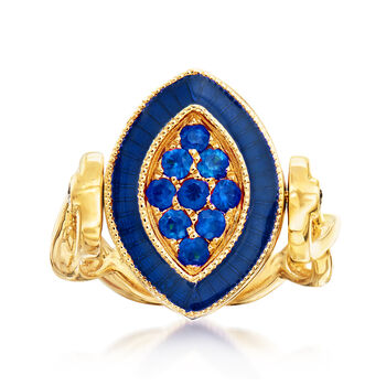 C. 1980 Vintage .48 ct. t.w. Ruby and .48 ct. t.w. Sapphire Ring in 18kt Yellow Gold. Size 6, , default