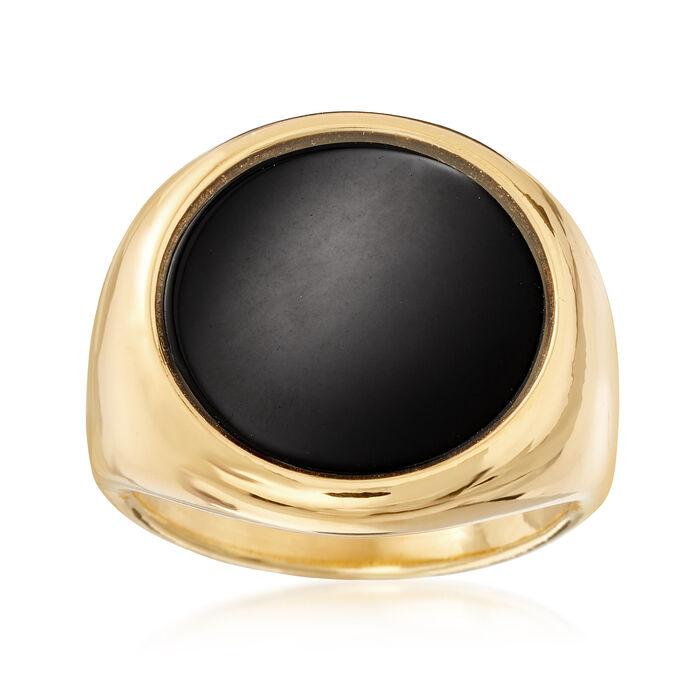 Italian Andiamo 14kt Yellow Gold Black Onyx Ring, , default