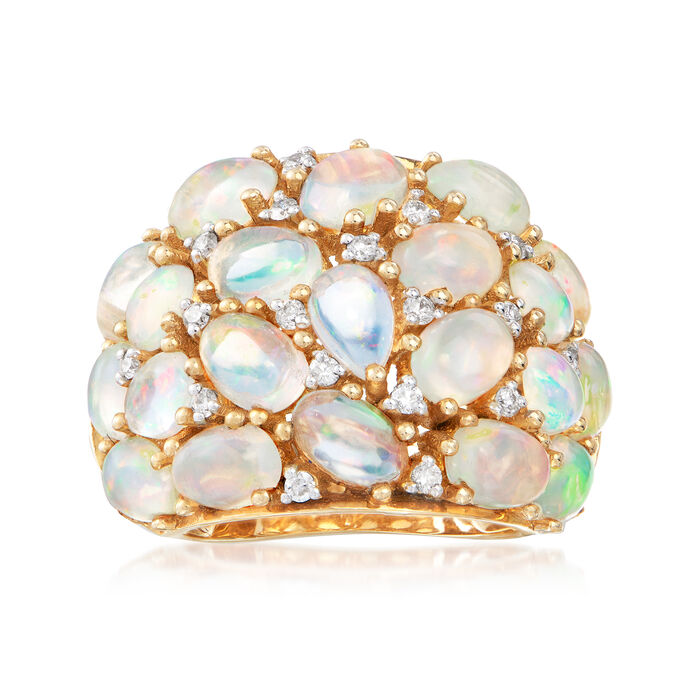C. 1990 Vintage Opal and .30 ct. t.w. Diamond Cluster Ring in 14kt Yellow Gold. Size 5