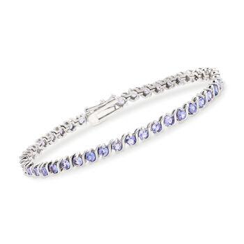 3.70 ct. t.w. Tanzanite Tennis Bracelet in Sterling Silver, , default