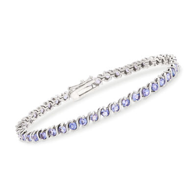 3.70 ct. t.w. Tanzanite Tennis Bracelet in Sterling Silver, , default