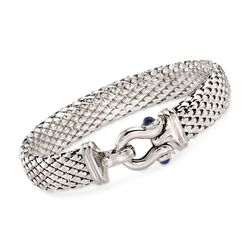 C. 2000 Vintage .60 ct. t.w. Sapphire Buckle Bracelet in 14kt White Gold, , default
