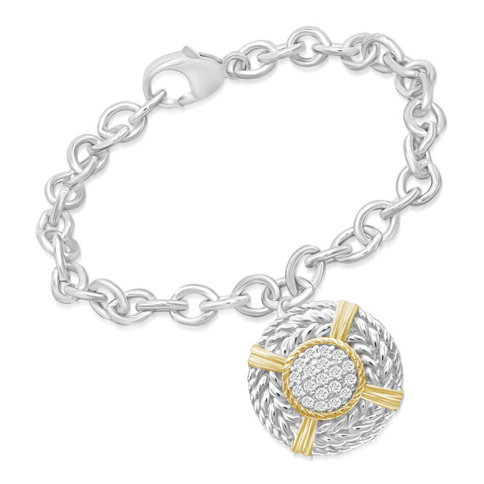 ".25 ct. t.w. Diamond Nautical Charm Bracelet in Two-Tone Sterling Silver. 7.5"", , default"