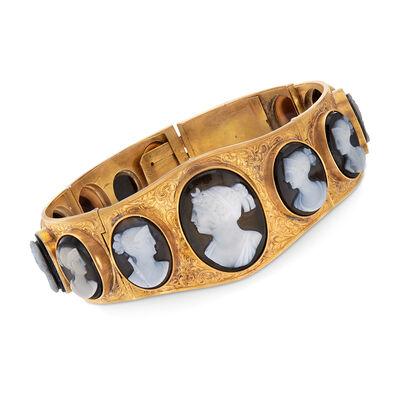 C. 1930 Vintage Black Agate Multi-Cameo Bracelet in 18kt Yellow Gold, , default