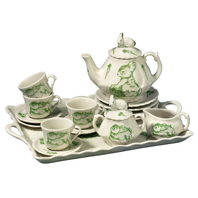 Child's Porcelain Bunny Toile Tea Set