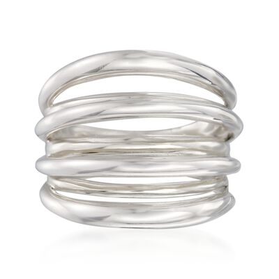 Italian Sterling Silver Multi-Row Ring, , default
