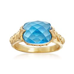 4.00 Carat Swiss Blue Topaz Ring in 18kt Gold Over Sterling, , default