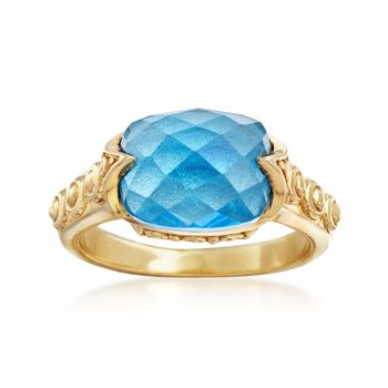 4.00 Carat Swiss Blue Topaz Ring in 18kt Gold Over Sterling, , default