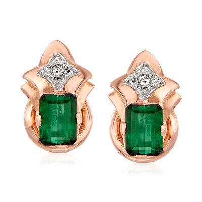 C. 1940 Vintage 4.40 ct. t.w. Green Tourmaline Earrings in 18kt Rose Gold, , default
