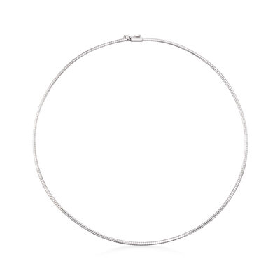 Italian 1.8mm 14kt White Gold Omega Necklace, , default