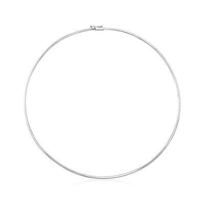 Italian 1.8mm 14kt White Gold Omega Necklace, , default
