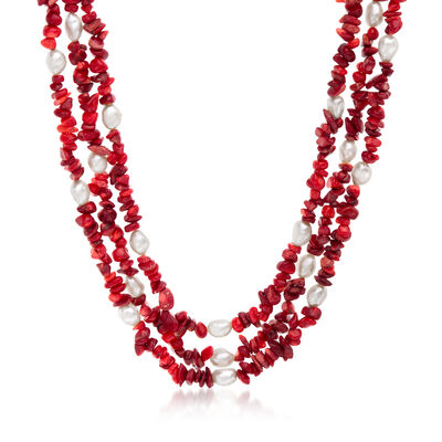 4-9mm Red Coral and 7-8mm Cultured Pearl Necklace with Sterling Silver, , default