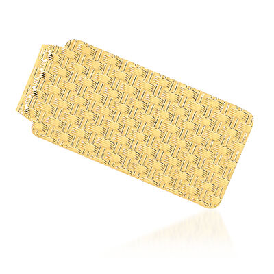 14kt Yellow Gold Polished Patterned Money Clip, , default