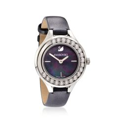 Swarovski Crystal Lovely Crystals Women's Stainless Steel Watch With Black Mother-Of-Pearl and Leather             , , default