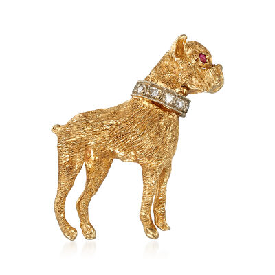 C. 1970 Vintage Boxer Dog Pin With Diamonds and Rubies in 14kt Yellow Gold, , default