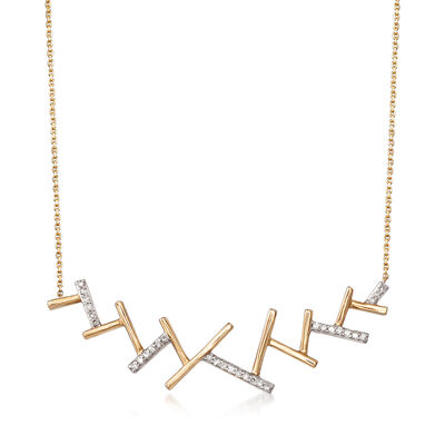 """.10 ct. t.w. Diamond With Rhodium""""Ski Track"""" Necklace in 14kt Yellow Gold, , default"""