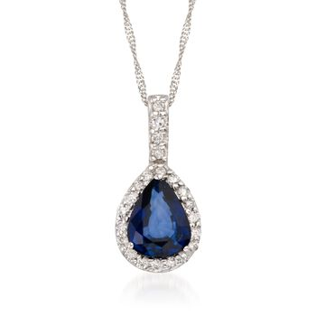 "1.35 Carat Sapphire and .15 ct. t.w. Diamond Necklace in 14kt White Gold. 16"", , default"
