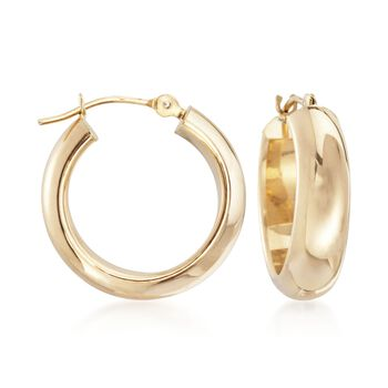 """14kt Yellow Gold Small Round Hoop Earrings. 5/8"""", , default"""