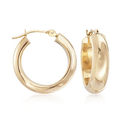 14kt Yellow Gold Small Round Hoop Earrings, , default