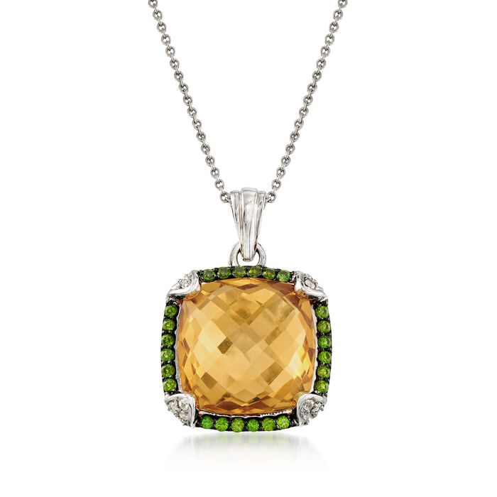 10.35 ct. t.w. Multi-Stone Pendant Necklace in Sterling Silver. 18""