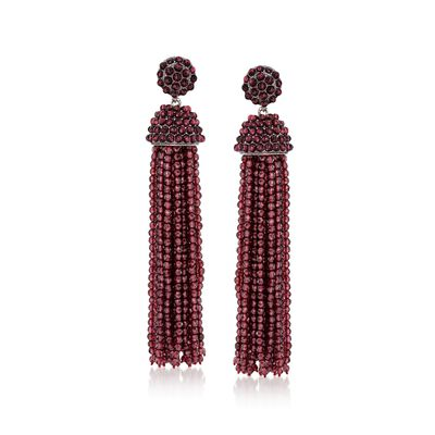 Garnet Bead Tassel Drop Earrings in Sterling Silver, , default