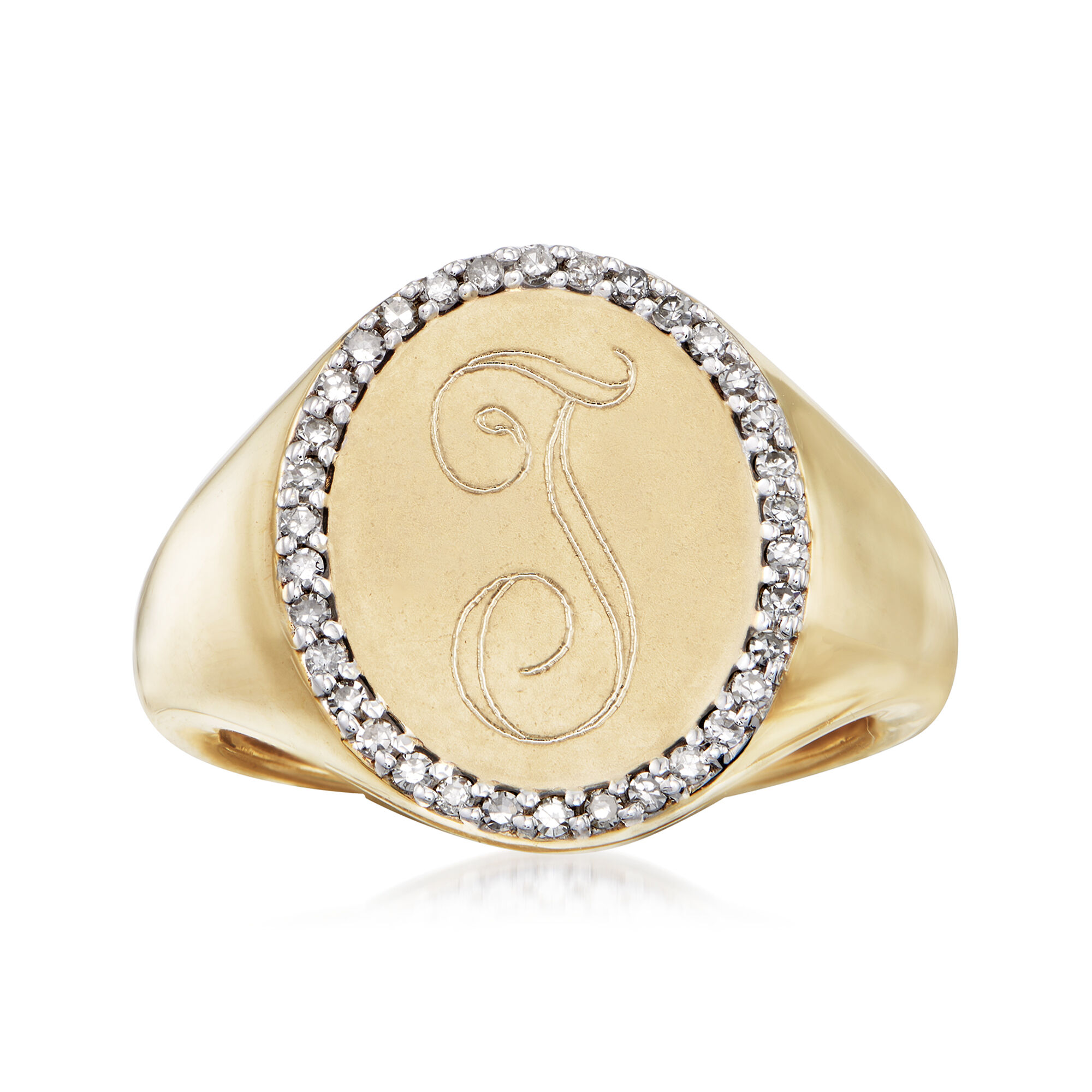 14k Yellow Gold w//Diamond Accent Initial Letter A Ring Size 7