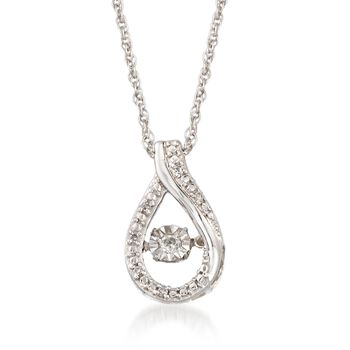 """Diamond Accent Floating Teardrop Pendant Necklace in Sterling Silver. 18"""", , default"""