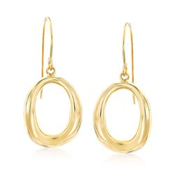 14kt Yellow Gold Open Oval Drop Earrings, , default