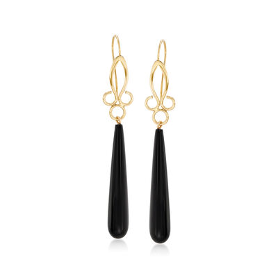 Long Teardrop Black Onyx Drop Earrings in 14kt Yellow Gold, , default