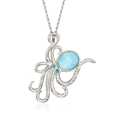 Larimar Octopus Pendant Necklace in Sterling Silver with CZ Accents, , default