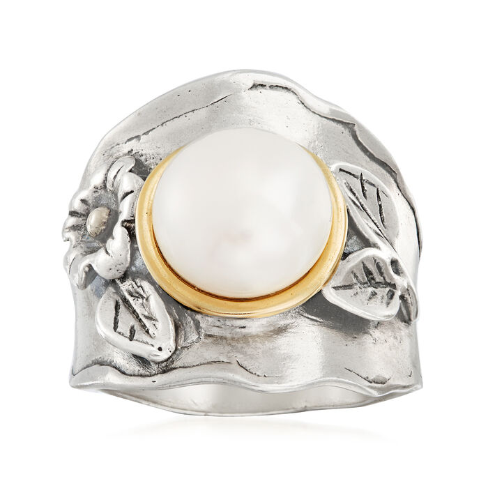 9-10mm Cultured Pearl Floral Ring in Sterling Silver with 14kt Yellow Gold