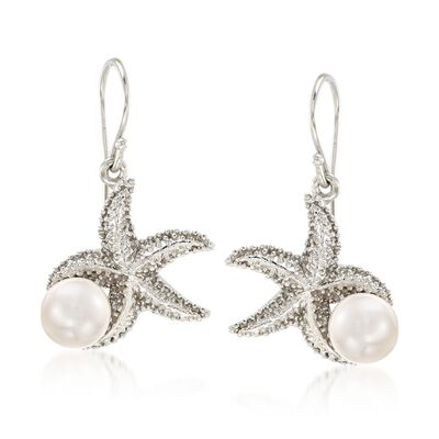 8-8.5mm Cultured Pearl Starfish Earrings in Sterling Silver, , default