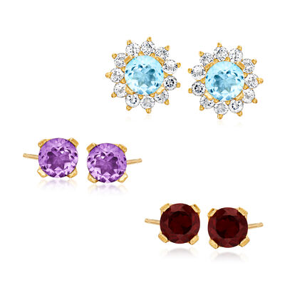 2.90 ct. t.w. Multi-Gemstone Jewelry Set: Three Pairs of Stud Earrings with 4.10 ct. t.w. White Topaz Earring Jackets in 18kt Gold Over Sterling