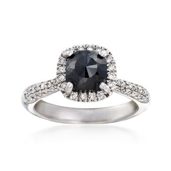 2.48 ct. t.w. Black and White Diamond Halo Ring in 14kt White Gold, , default