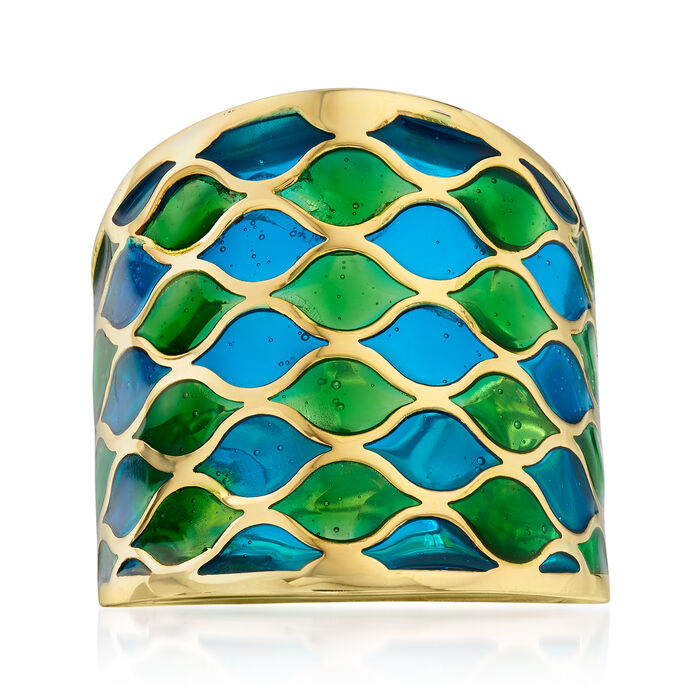 Italian Green and Blue Enamel Ring in 14kt Yellow Gold, , default