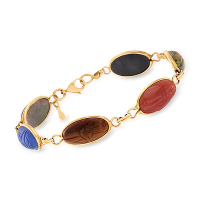 C. 1960 Vintage Multi-Gemstone Elongated Oval Scarab Bracelet in 14kt Yellow Gold, , default