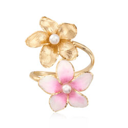 Italian Cultured Pearl and Pink Enamel Flower Ring in 14kt Yellow Gold, , default