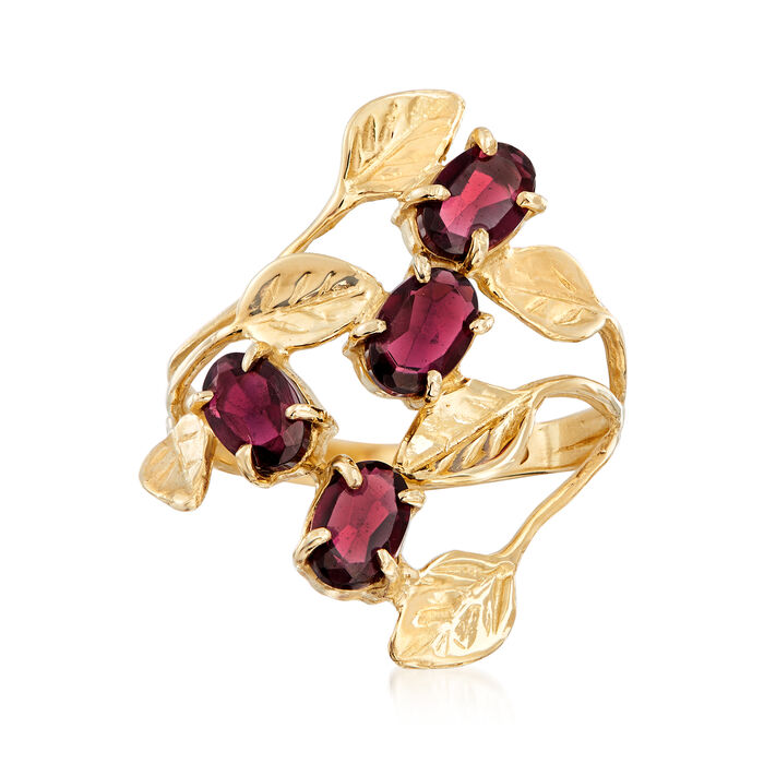 2.40 ct. t.w. Garnet Open-Space Leaf Ring in 14kt Yellow Gold
