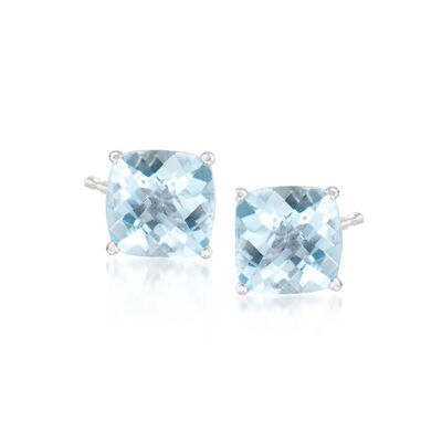 1.50 ct. t.w. Aquamarine Stud Earrings in 14kt White Gold, , default