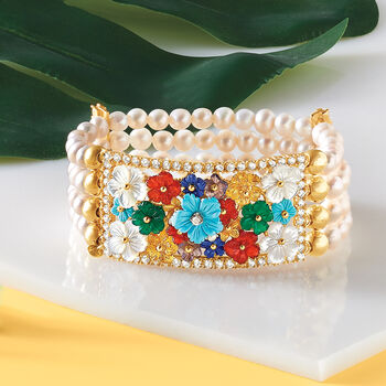 5.5-6mm Cultured Pearl, Mother-Of-Pearl and Multi-Gem Floral Stretch Bracelet in 18kt Gold Over Sterling