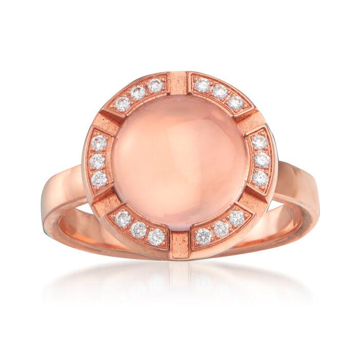 C. 1980 Vintage Chaumet Diamond-Accented Rose Quartz Ring in 18kt Rose Gold