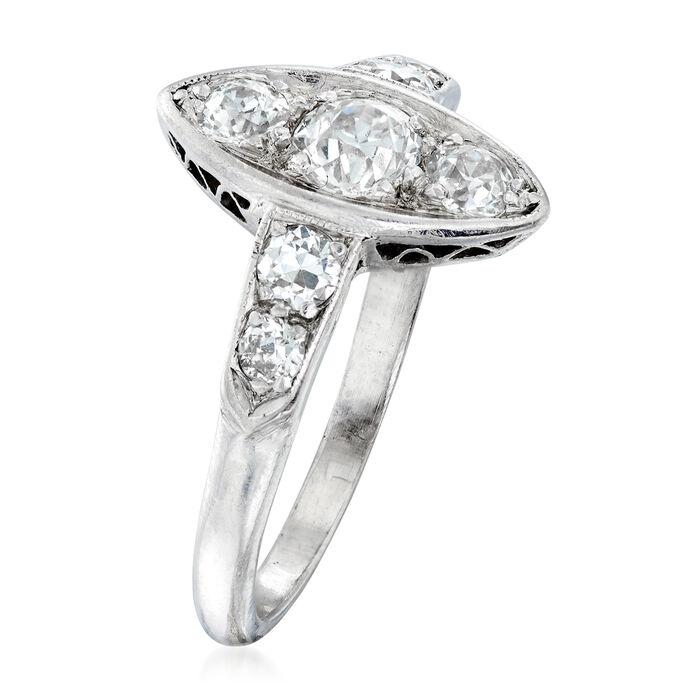 C. 1950 Vintage .80 ct. t.w. Diamond Navette Ring in Platinum