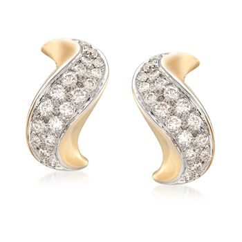 C. 1980 Vintage 1.50 ct. t.w. Pave Diamond Curve Earrings in 14kt Yellow Gold, , default