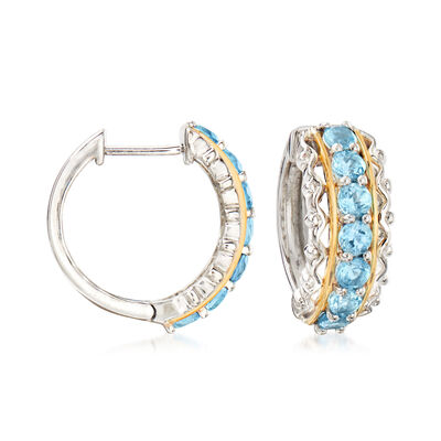 1.90 ct. t.w. Swiss Blue Topaz Hoop Earrings in Sterling Silver with 14kt Yellow Gold