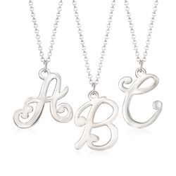 Sterling Silver Script Single Initial Pendant Necklace, , default