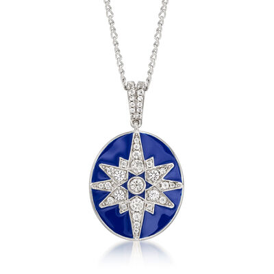 1.50 ct. t.w. White Topaz and Blue Enamel Star Pendant Necklace in Sterling Silver