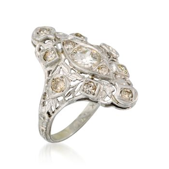 C. 1980 .95 ct. t.w. Diamond Ring in 18kt White Gold. Size 4, , default
