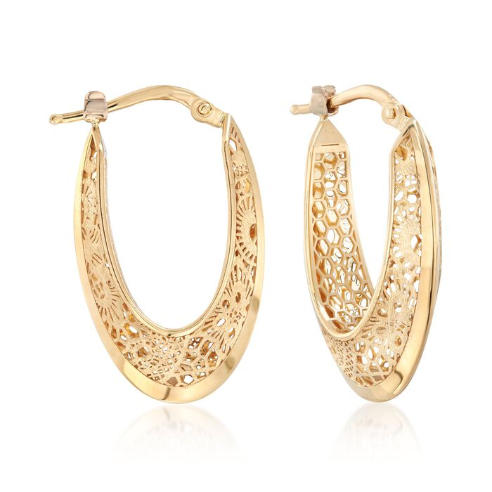 "Italian 18kt Yellow Gold Floral Openwork Hoop Earrings. 1"", , default"