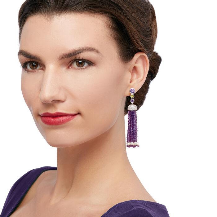 73.90 ct. t.w. Multi-Gemstone Bead Tassel Earrings in Sterling Silver