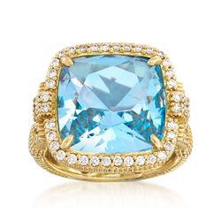 "Judith Ripka ""Arianna"" 7.92 Carat Blue Topaz and .64 ct. t.w. Diamond Ring in 18kt Yellow Gold, , default"